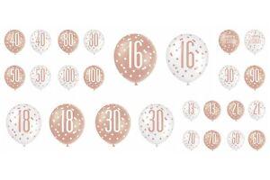 Birthday Rose Gold Balloons Happy Birthday 13-100 Party Decorations Glitz 6 Pack
