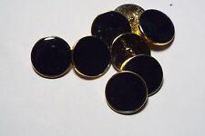 8pc 15mm Dark Navy Enamel Effect Gold Metal Blazer Coat Cardigan Button 2800