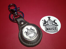 MAUSER FIREARMS /  GUNS:  LEATHER KEY RING &  FREE  MAUSER STICKER