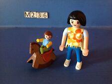 (M236) playmobil maman et bébé sur cheval à bascule ref 4744