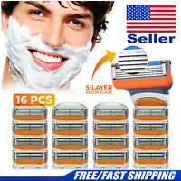 16pcs for Gillette Fusion 5-Layer Men's Razor Blade Refills Replacement Gift USA