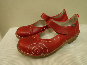 Women's EL NATURALISTA YGGDRASIL 10.5 11 41 Red Leather Mary Janes Clogs Shoes