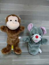2 Vintage hand glove puppets Monkey & Mouse - 2  poppenkast poppen aap & muis