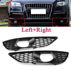 Pair Front Bumper Fog Light Grilles Grill Cover For Audi Q7 4L 2009-2014 S Line
