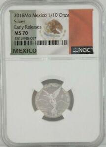 2018 1/10 oz MO Mexico Silver Libertad Early Release NGC MS 70
