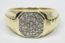 Men's 10k Solid Yellow Gold Cocktail Diamond Ring Natural Mined 1/4 tcw H-J/I2