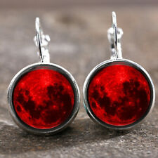 Glass cabochon 18 Mm Lever Back Earrings 1 pair Blood Moon Gothic silver Trendy