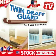 US Twin Door Draft Dodger Guard Stopper Energy Saving Protector Doorstop Window