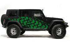 Vinyl Graphics Decal TIRE TRACKS Wrap Kit for Jeep Wrangler 4D 2007-2016 Green