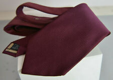 Burberry Silk Burgundy Textured Striped Tie Nova Check Lining Logo Embroidered