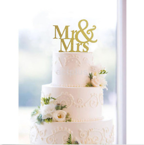 New Mr&Mrs Romantic Shiny Cake Topper Wedding Party Top Letter Decor US