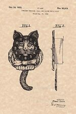 Patent Print - Cat Face Wall Clock by Paul Lux 1933 - Ready To Be Framed!