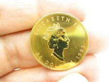 24k Yellow Gold 1992 Elizabeth II Canada Maple Leaf 1/2 OZ .999 Fine Gold Coin