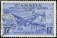 1942-47 VF Used Canada 17c Perforated 4-Hole Scott #OCE2 Air Mail Spcial D Stamp