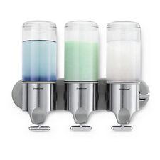 Triple Dispenser Shampoo Soap Conditioner Wall Steel Decor Bath Clutter Shower