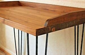 Rustic Vintage Industrial Retro Wooden  Desk Console Table Metal Hairpin Legs