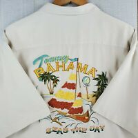 "TOMMY BAHAMA Size XL ""Seas The Day"" 100% Silk Ivory Mens Camp Hawaiian Shirt"