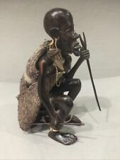 Ethnic African Carved Seated Hunter With Walk Stick,Spear, And Shawl Original