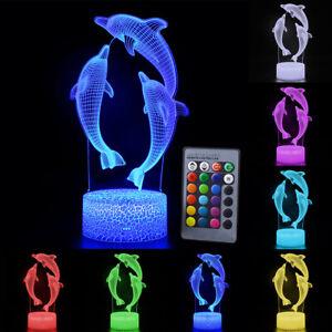 3D Night Light Remote Dolphin 7/16 Color Kid Xmas Home Decor LED Table Desk Lamp