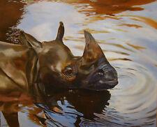 Le rhinocéros noir, Peinture à l'huile originale Anne Zamo