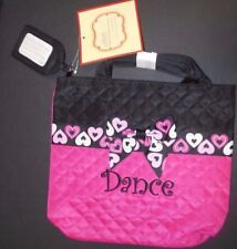 NWT Quilted Dance tote Hearts embroidered w/ Name Tag Rasberry black zipper top