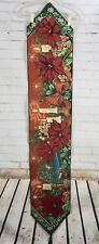 "Christmas Tapestry Table Runner Poinsettia Floral + Candles 70"" x 13"" Black"