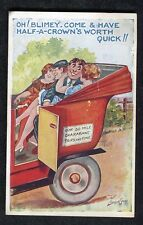 Posted 1939 Comic/ Cartoon: Two Couples in a Car: Half a Crowns worth Quick