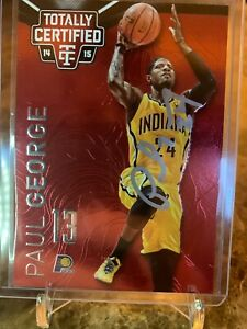 * Autographed Star Paul George 2014-15 Totally Certified 2 Red /279 w COA *