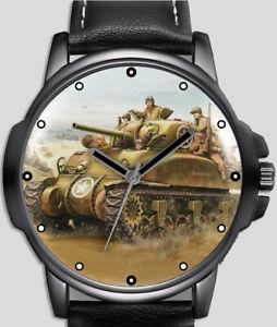 Guerre Mondiale 2 Seconde Tank Art Stylé Rare Qualité Poignet Montre