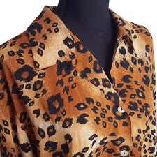 Impressions Womens Shirt 2X Brown Animal Print Button Front Long Sleeves