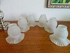1 of 6 Français rétro nuances vintage Opaque plissé FORME VERRE LAMPES,