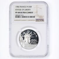 1986 France Pt100F Statue Of Liberty Platinum Coin NGC Certified PF68 Ultra CAM