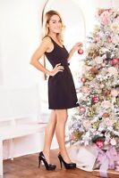 Lauren Conrad Black Textured Bow Pleated Scoopneck Sleeveless Dress 2 8 16