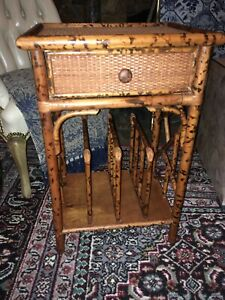 Faux Tortoise And Grasscloth Magazine Rack Table