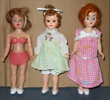 Vintage 1970'S Three Old Hard Plastic Dolls Jointed 7'' Tall Eyes Open Shut
