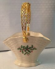 "Lenox ""Holiday Basket� Trimmed In Gold With Gold Handle"