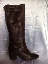 Fiore Brown Knee High Leather Boots Size 7