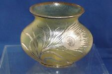 Antique Austrian Art Glass Irridized vase with Silver Overlay Peacock Feather