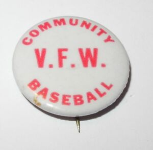 1940's Baseball Pin Coin VFW Community Little League Booster Pinback v2