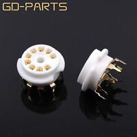 GOLD PLATED 9pin B9A PCB Mount Tube Socket for 12AX7/ECC83/12AT7/6DJ8 5670 10PCS