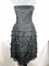 ZARA Women's Strapless Black Coctail Dress size M 100% Silk Ruffle layered 18
