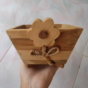 Wooden Natural Thai handmade Wood Beautiful storage box for storing small things