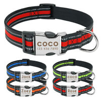 Personalized Dog Collar with Heavy Duty Custom Engraved Nameplate Reflective S-L