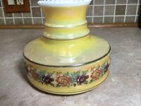 """Vintage Yellow With Flowers Glass Oil Electric Lamp Shade 6"""" fitter, 6"""" Tall"""