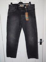 "BNWT NEXT Men's Slim Leg Frayed Hem Cropped / Short Black Denim Jeans size 32""W"