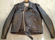 Men's Leather Coat Jacket Biker Motorcycle Heavyweight Quilted Lining Size 50