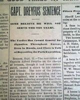 DREYFUS AFFAIR Alfred Jewish Officer Treason France SENTENCED 1899 Old Newspaper