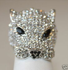 eli k PANTHER HEAD SILVER & CRYSTAL Ring Size 7
