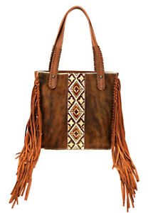 Trinity Ranch Brown Genuine Cowhide Calf Hair Concealed Carry Purse