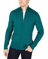 Alfani Mens Sweater Cape Verde Green Size Large L Full Zip Ribbed-Knit $75 #421